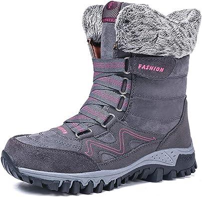 Femmes Hiver Bottes de neige chaussures chaudes Imperméable Doublé Fourrure Plate Cheville Wear
