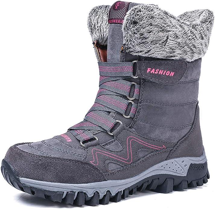Donna Inverno Pelliccia Stivali da Neve Stringate Scarpe Snow Boots Caviglia Caldo Stivali Stivaletti Grigio Rosa 36-42