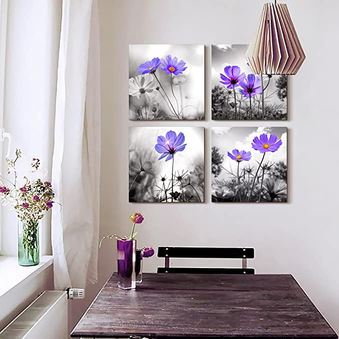 Wall Art For Living Room Black and White purple flower