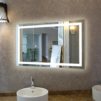 Tonffi Badspiegel mit beleuchtung 100x60CM LED Spiegelleuchte 35W ... | {Spiegel mit beleuchtung für schminktisch 71}