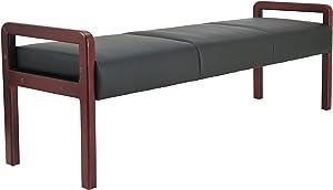 Alera ALE Reception Lounge WL Series Bench, 65 3/4 x 22 1/4 x 22 7/8, Black/Mahogany