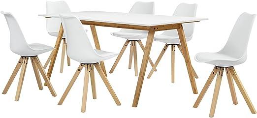 en.casa] Set de Comedor Mesa bambú/Blanca 180x80 + 6 sillas ...