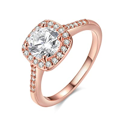 SanJiu Jewelry Women s Wedding Engagement Rings Round Rose Gold Plated with  CZ Cubic Zirconia Promise Anniversary Engagement Charm Ring for Women Rose  Gold e989665b0d