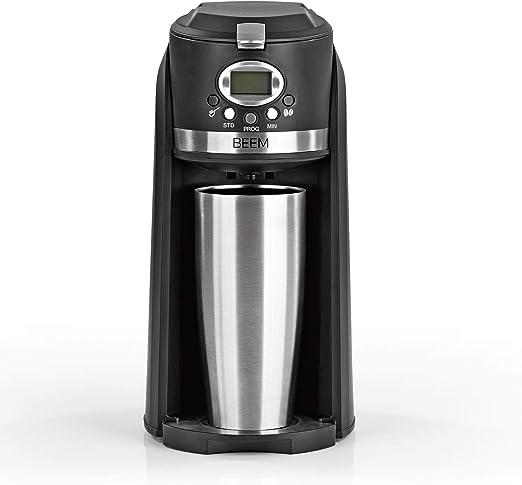 BEEM GRIND & BREW 2 GO - Cafetera de filtro con mecanismo de molienda, taza térmica de 0,4 l, temporizador de 24 h, 800 W, filtro permanente: Amazon.es: Hogar