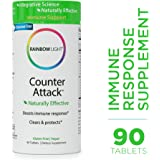 Rainbow Light - Counter Attack - Vitamin C and Zinc Supplement; Vegan and Gluten-Free; Herbal Blend Provides Immune Support, Boosts Immune System Health and Response - 90 Tablets