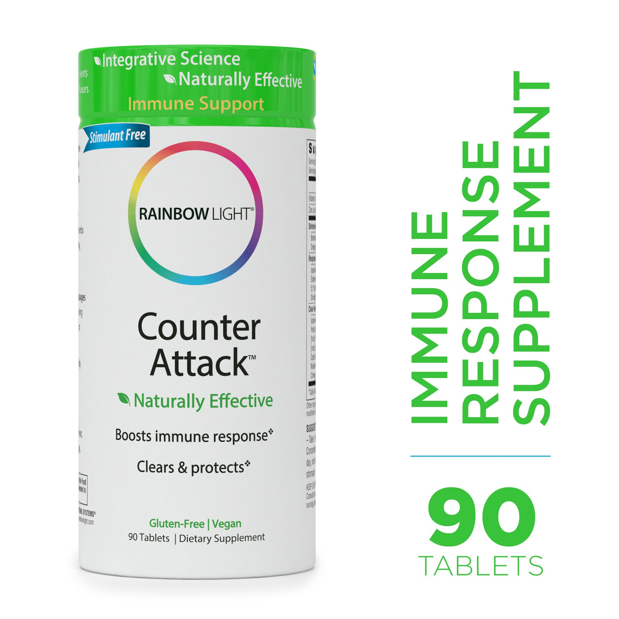 Rainbow Light - Counter Attack - Vitamin C and Zinc Supplement; Vegan and Gluten-Free; Herbal Blend Provides Immune Support, Boosts Immune System Health and Response - 90 Tablets by Rainbow Light