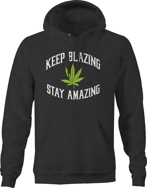 Keep Blazing Stay Amazing Marijuana Leaf Smoke 420 Chill Vibes Hoodies for Men