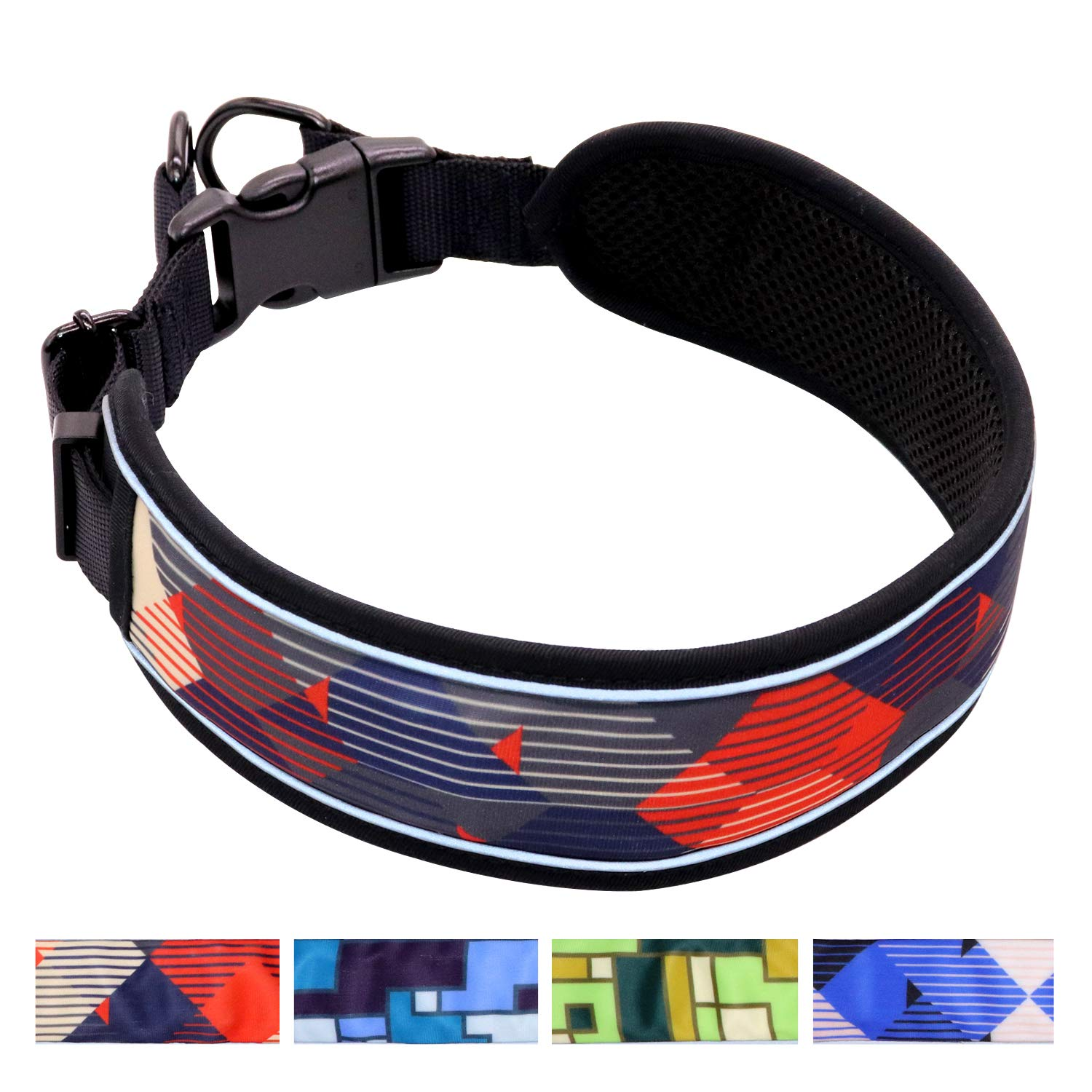 Taglory 2019 Newest Padded Martingale Dog Collars,Stylish Stripe Pattern and Unique Adjustment Design Dog Collars,Fits Large Dogs Training and Walking,Red L