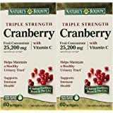 Natures Bounty Triple Strength Cranberry 25,200mg with Vitamin C, 120 Softgels (2 X 60 Count Bottles)