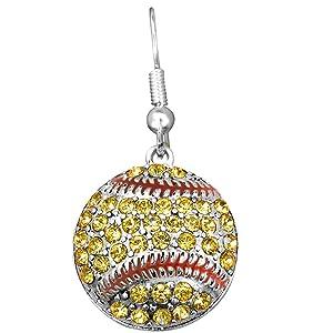 Genuine Crystal Softball Fishhook Earring