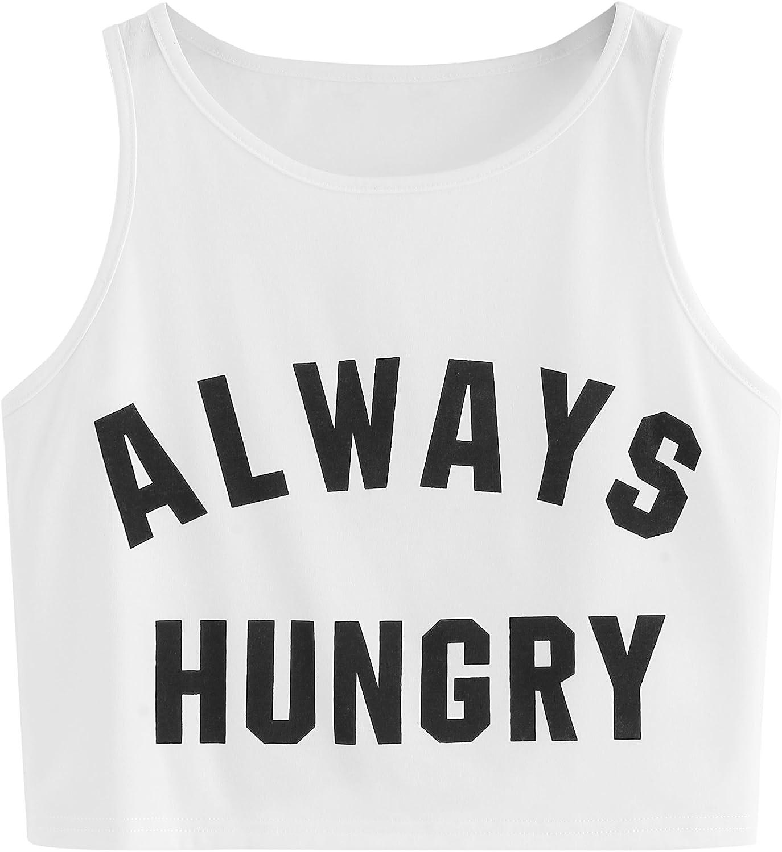 SweatyRocks Women's Summer Sleeveless Letter Print Casual Crop Tank Top Shirts