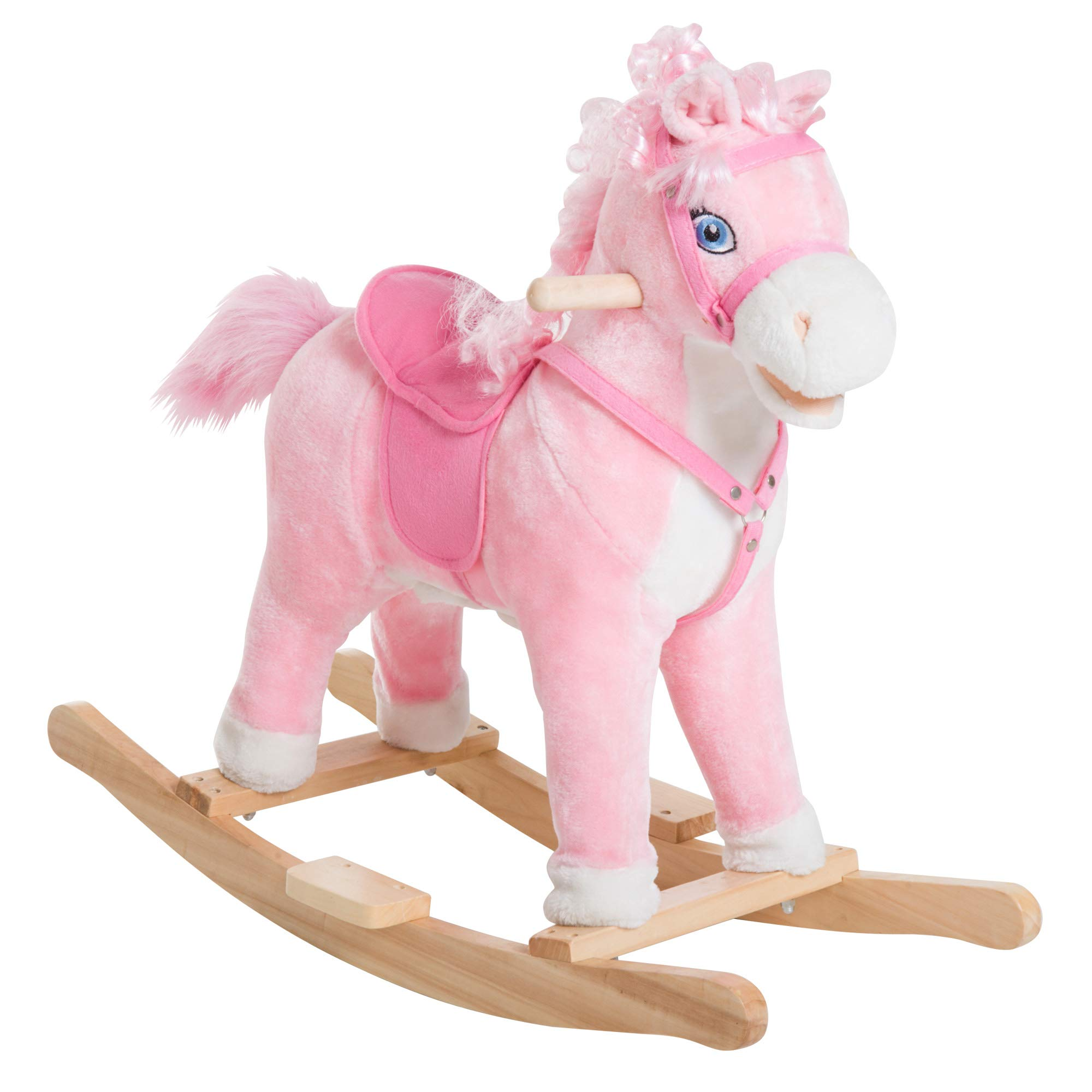 Qaba Kids Plush Toy Rocking Horse Ride on with Realistic Sounds Moving Mouth & Tail -Pink