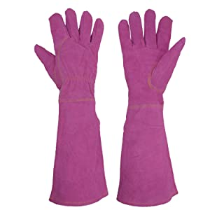 Handlandy Ladies Leather Gardening Gloves, Thorn Proof Long Gauntlet Garden Gloves, Elbow Length Rose Pruning Gloves (Large, Rosy)