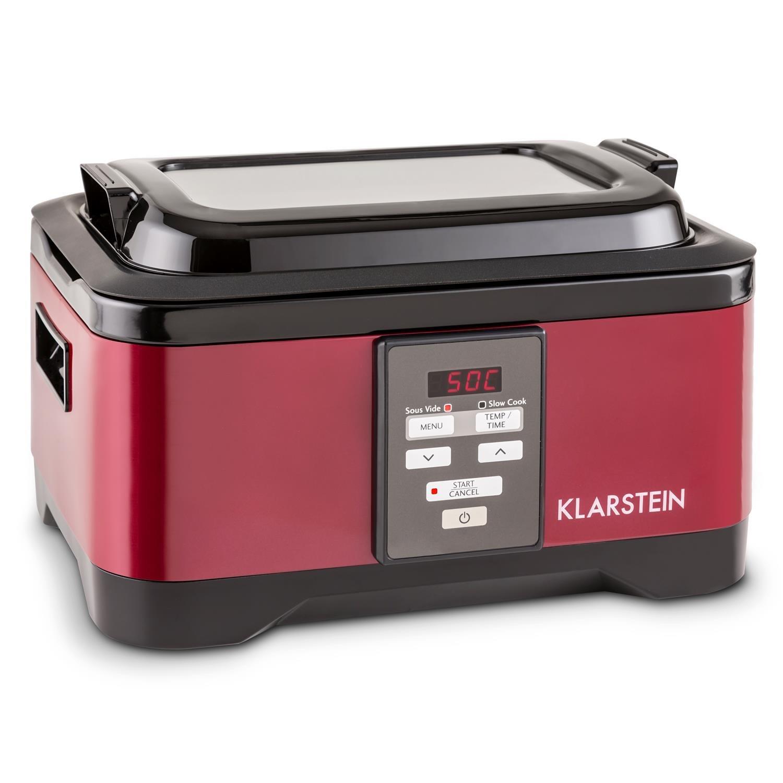 Klarstein Tastemaker fornello sotto-vuoto 550 watt intervallo di temperatura 40-90°C tempo di cottura: 1-24h Coperchio in vetro Funzionamento touch acciaio inox coperchio rosso