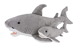 "Wildlife Tree 23 and 11"" Stuffed Great White Shark Mom and Baby Plush Floppy Ocean Animal Family Collection"