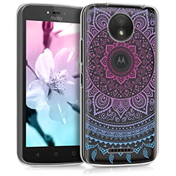 kwmobile Funda para Motorola Moto C Plus - Carcasa de TPU para móvil y diseño de Sol hindú en Azul/Rosa Fucsia/Transparente