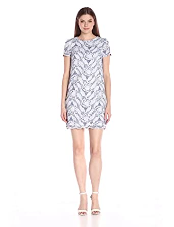 Maggy London Womens Feather Scroll Lace Shift Dress, Midnight/White, ...
