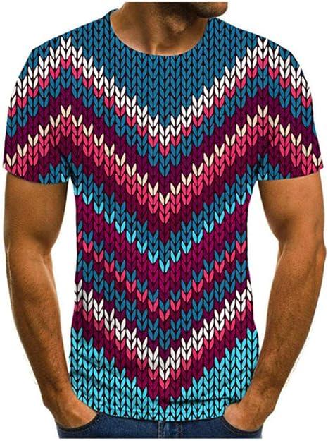 NBQWER Verano Hombres Camiseta Cuello Redondo Camisa Casual Streetwear Manga Corta 3D impresión psicodélica Camiseta XXS-4XL: Amazon.es: Deportes y aire libre