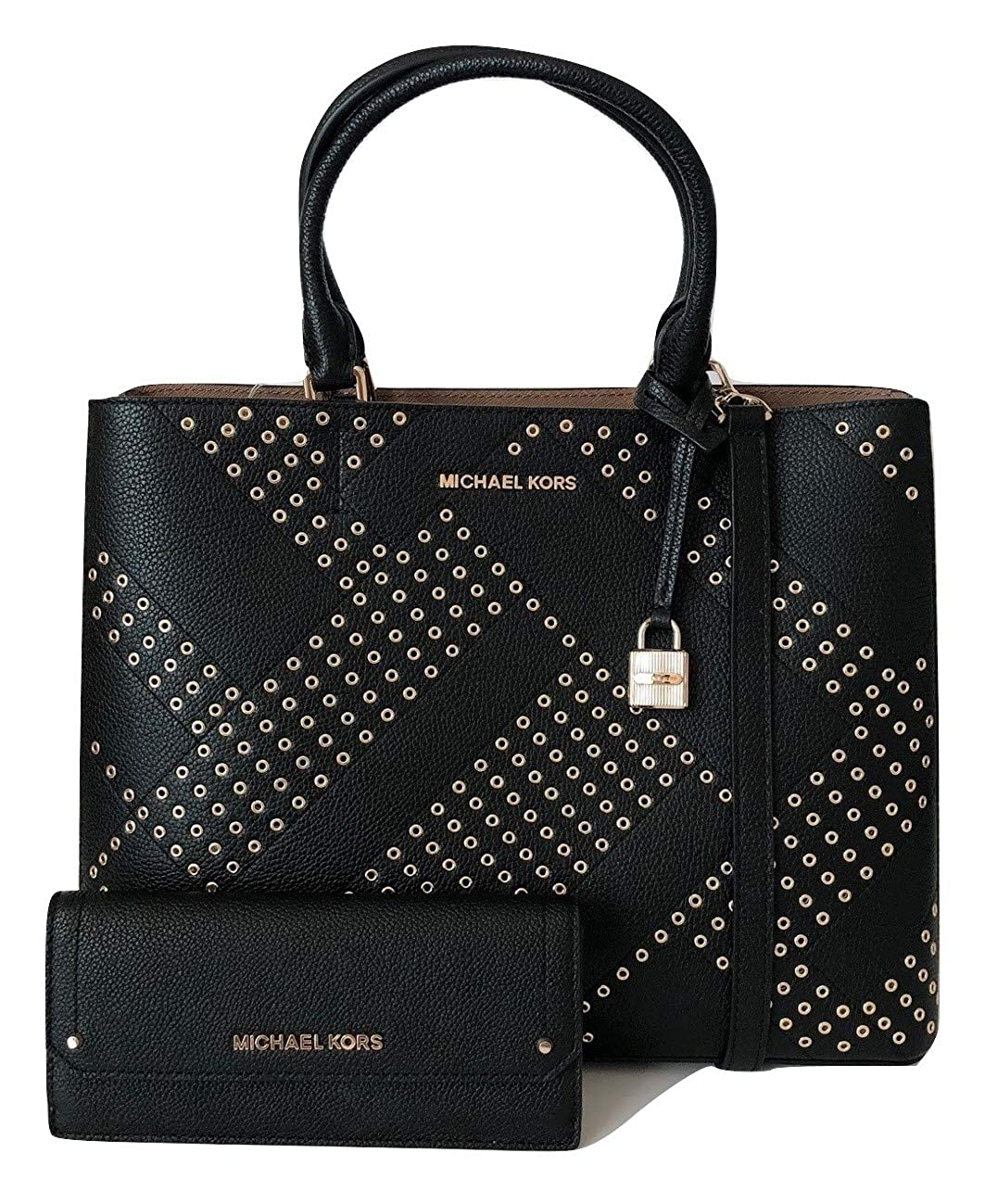 fa7c862b0afcd7 MICHAEL Michael Kors Adele Large North South Tote bundled with Michael Kors  Hayes Flat Wallet (Black/Dark Khaki): Handbags: Amazon.com