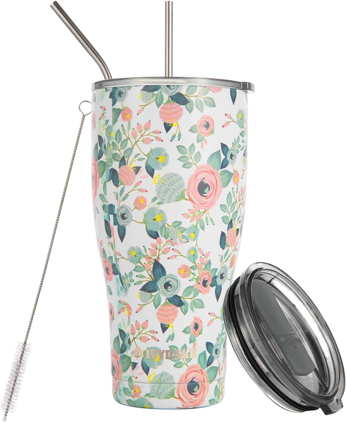 Ivydale Insulated Stainless Steel Tumbler - Double Wall Vacuum Insulated Tumbler for Hot and Cold Beverage - Vacuum Travel Mug - 30oz Tumbler - Floral Tumbler with Straw, Cleaning Brush 21002