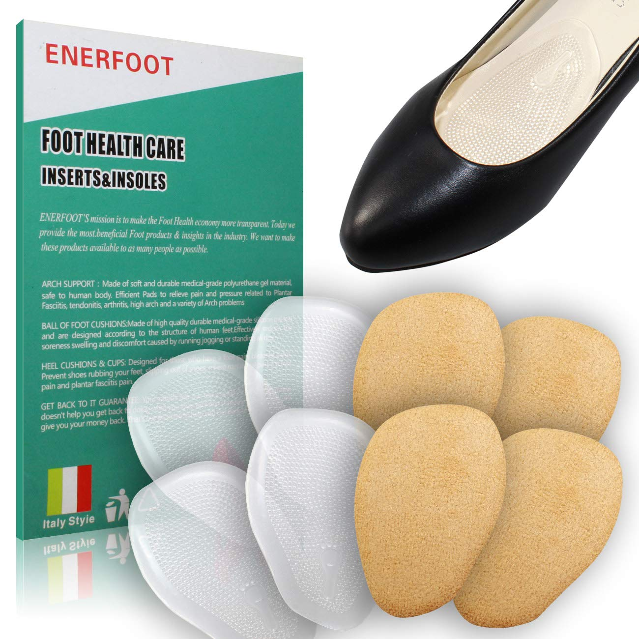 80701992ba1f Amazon.com  Heel Cushion Inserts (4 Pairs  8 Pieces) - Shoe Inserts Women - High  Heel Inserts for Women - Metatarsal Pads for Women - Ball of Foot Cushions  ...