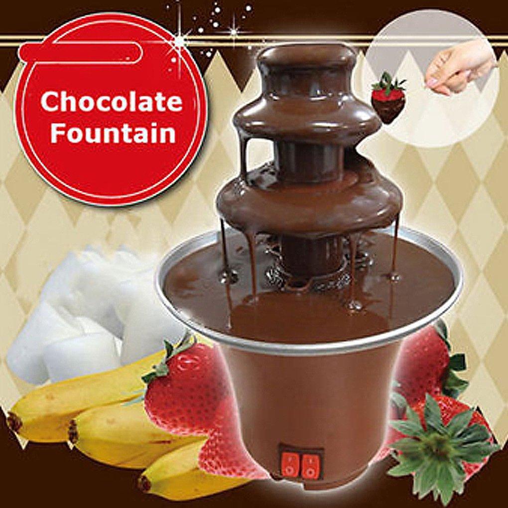 Demino Mini port/átil de 3 Niveles Fuente de Chocolate Fondue m/áquina Fabricante de PC climatizada Partido pl/ástico Fuente casera Enchufe de la UE
