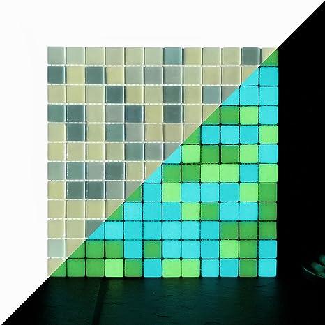 Amazon Com Illumino Opus One Yellow Green Glow In The Dark Glass Tile 1 Sheet 12 3 X 12 3 Home Kitchen