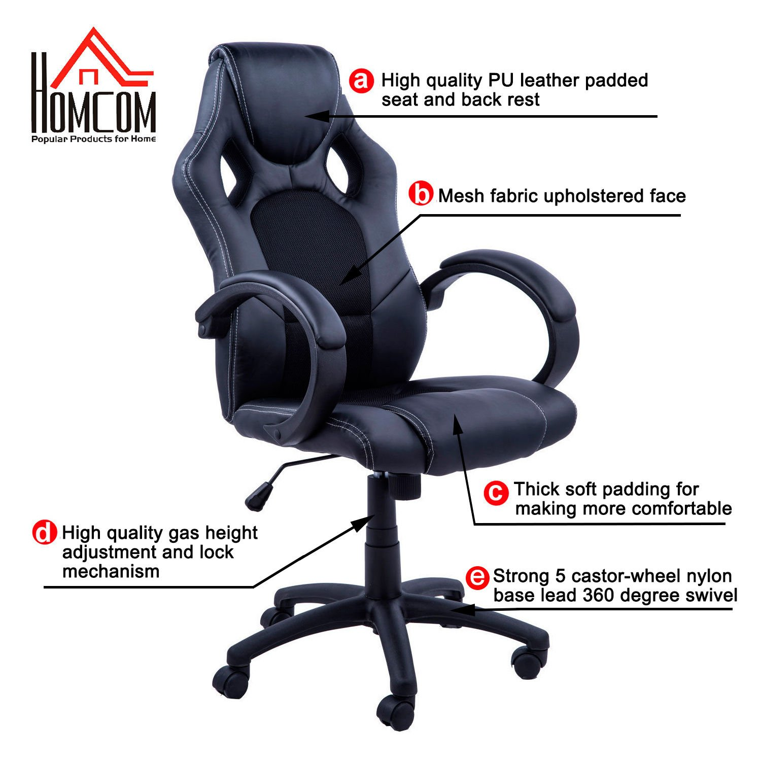 make office chair more comfortable. HomCom A2-0089 Racecar Styled High Back Leather Executive Computer Home Office Desk Swivel Chair: Amazon.ca: \u0026 Kitchen Make Chair More Comfortable F