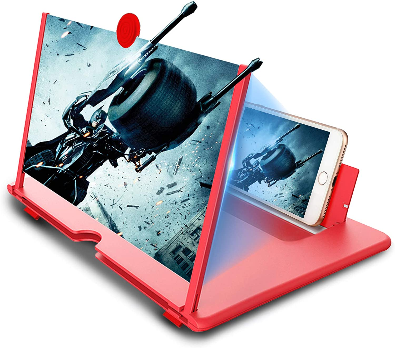 Newseego 12inch Phone Screen Magnifier Universal Flexible Adjustable Phone Stand Holder /& Phone Screen Amplifier with Magnifying Glass for Movies Videos and Gaming Supports All Smartphones-Black