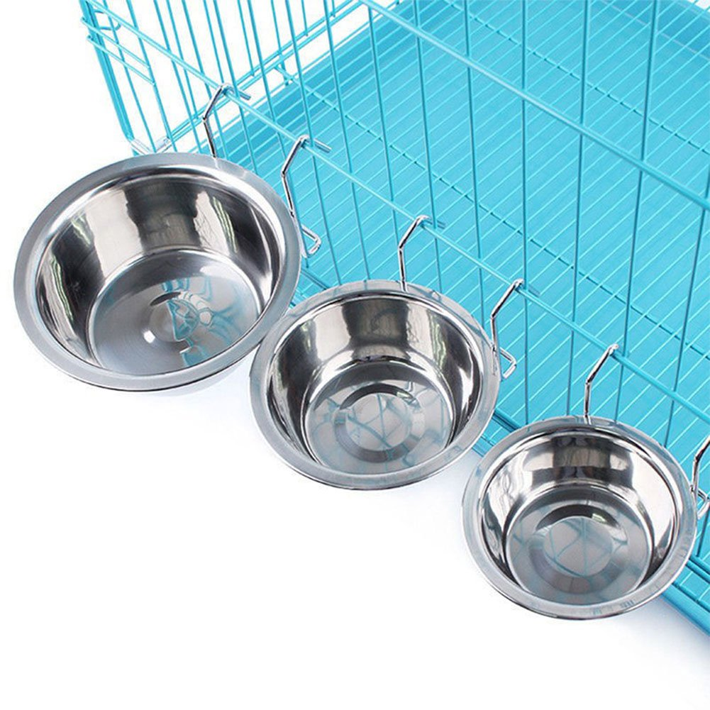 RPNSHIN Stainless Steel Hang-on Bowl for Pet Dog Cat Crate Cage Food Water RONSHIN