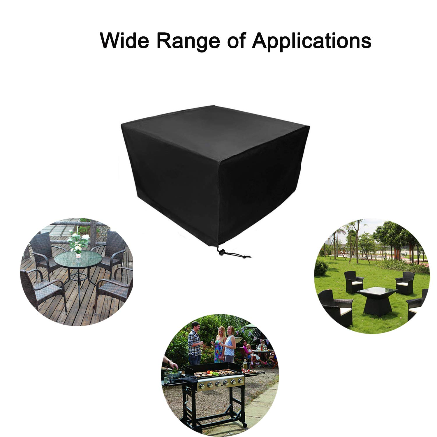 53.1 * 53.1 * 29.1 inch BoRui Garden Furniture Covers,210D Oxford Fabric Grill Covers Waterproof Barbecue Covers Outdoor Anti-UV Patio Protectors Seat Chairs Table Covers Square