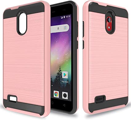 Coolpad Illumina 【Coolpad Legacy Go】 Case(Not Fit Coolpad Legacy) with HD Screen Protector,YmhxcY 360 Degree Rotating Ring /& Bracket Dual Layer Resistant Back Cover for Coolpad 3310A-ZH Rose Gold