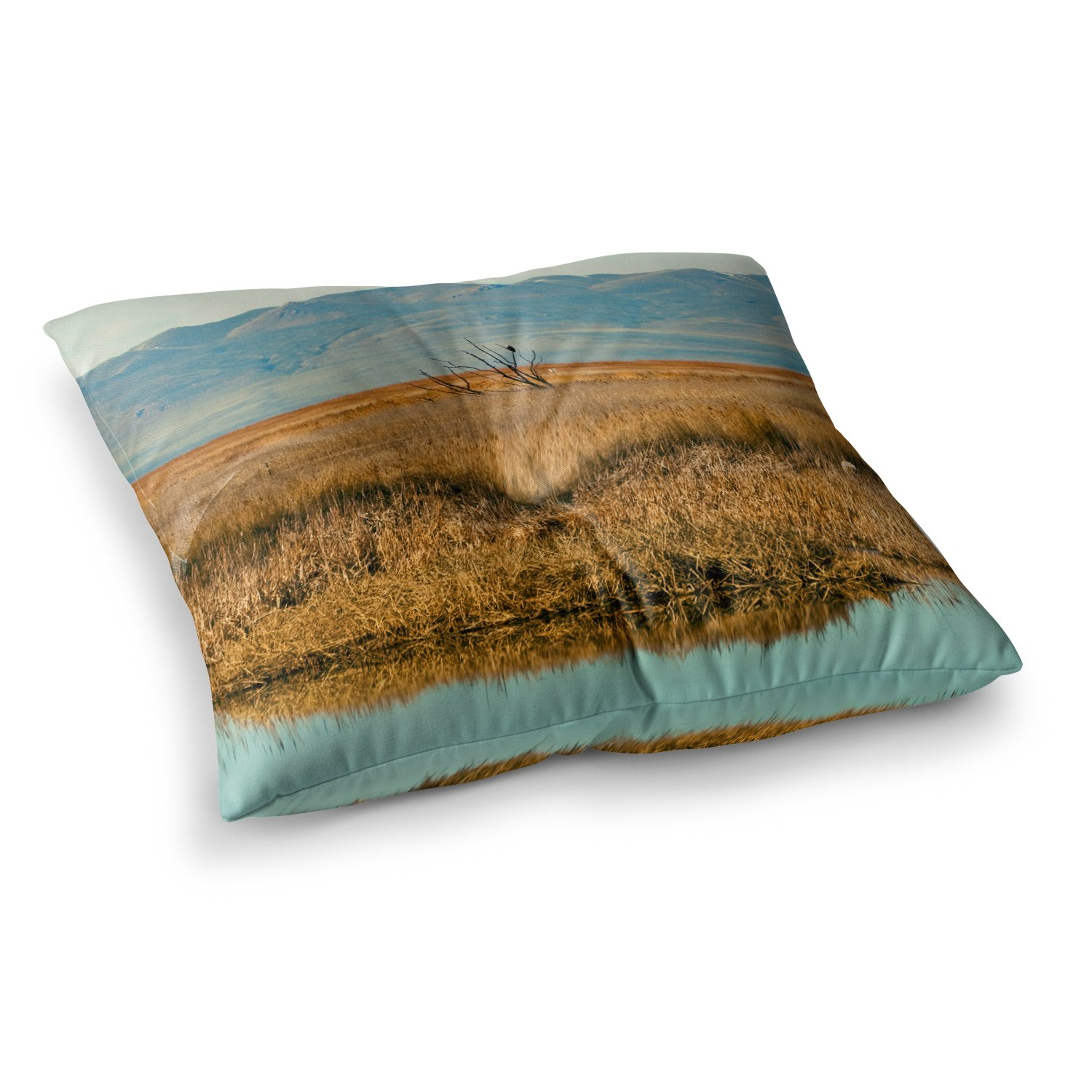 23 x 23 Square Floor Pillow Kess InHouse Sylvia Coomes Reflective Landscape Blue Brown