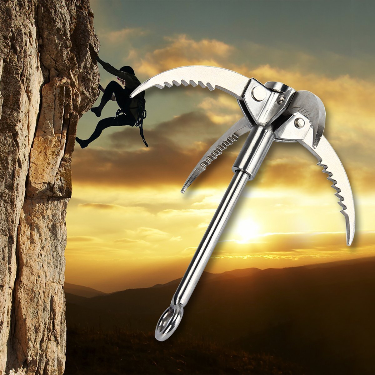 targetevoステンレススチールGrappling Hook With 4 folding Claws forキャンプハイキングサバイバルツリーRock Mountain Climbing  1個 B079FQ4WQD