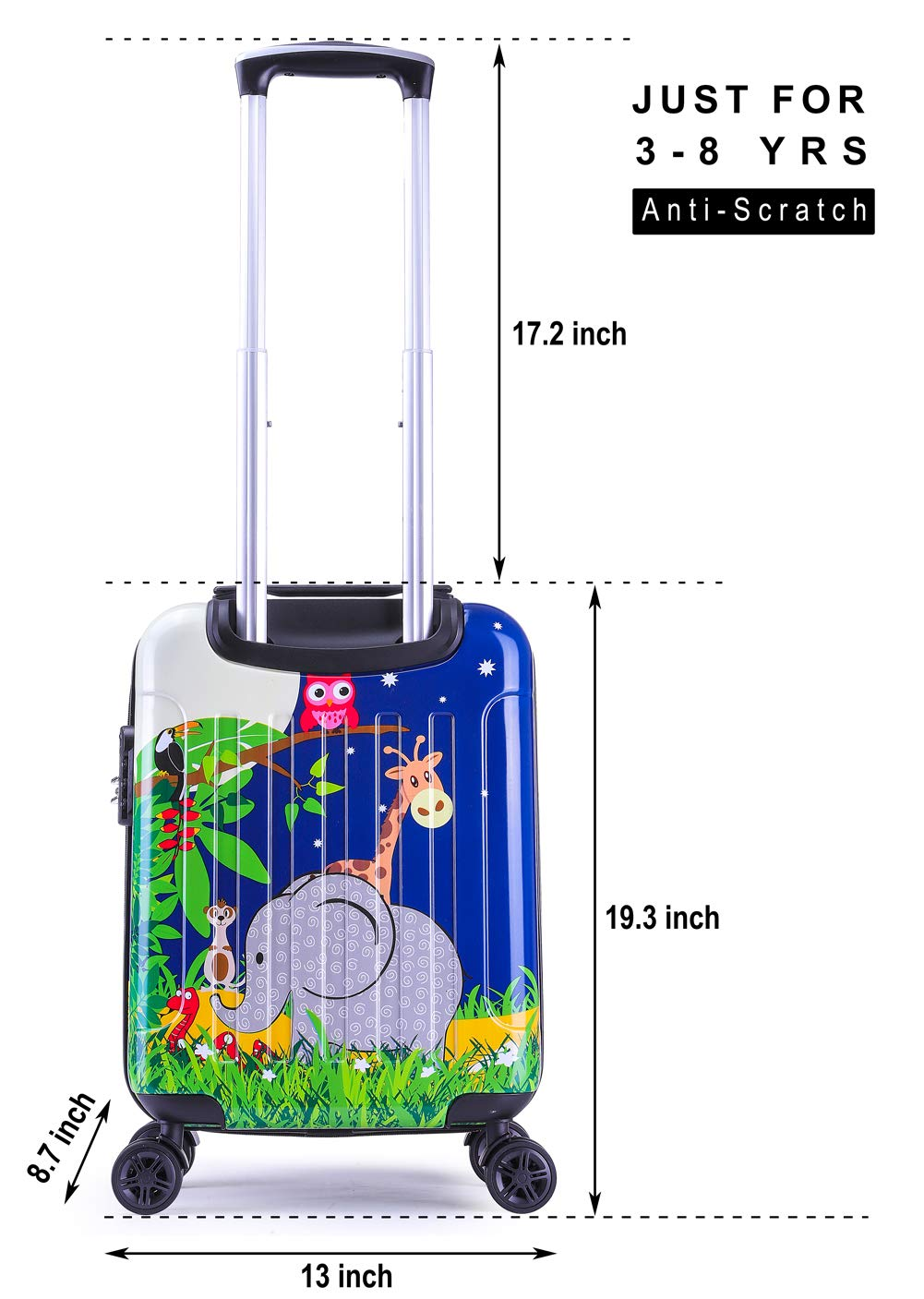 Boys Luggage Anti-scratch Suitcase 19in Hardshell Spinner Carry on PC+ABS Elephant LeLeTian by LeLeTian (Image #4)