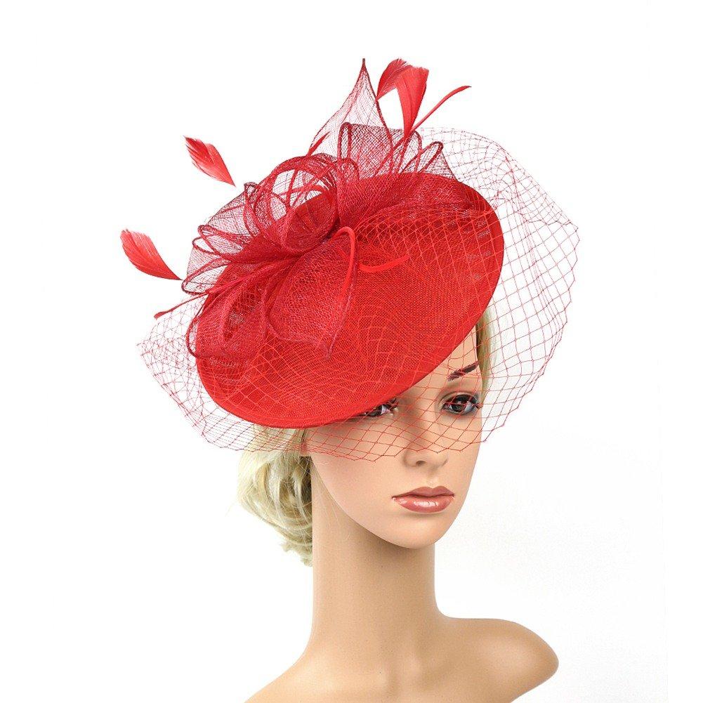 ACTLATI 1920s Fascinator Net Face Veil Feather Headband Flax Tea Party Top Hat Headwear Bridal Hairband