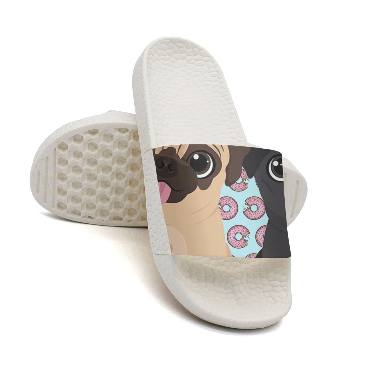 HSJDAPOCOAQ Two Cute Pug Dog Biscuits Summer Slippers For Men