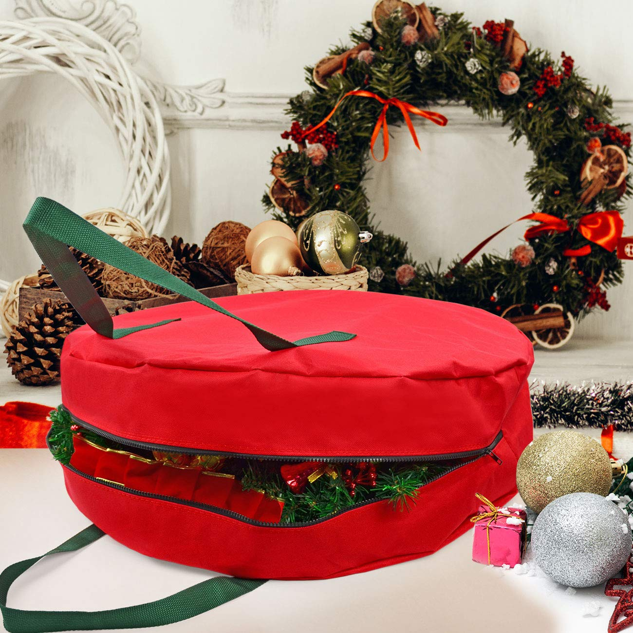 Wreath 24 x 7 Inches Heavy-Duty 600D Oxford Xmas Decorative Wreath Bag with Smooth PU Lining Bag Christmas Storage