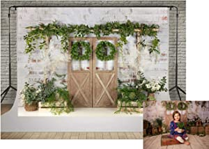 Kate Sprng Green Grass Decoration Garden Photography Backdrops 7x5ft White Brick Wall Wood Door Decor Backgrounds Photo Baby Children Backdrop Photoshoot Props