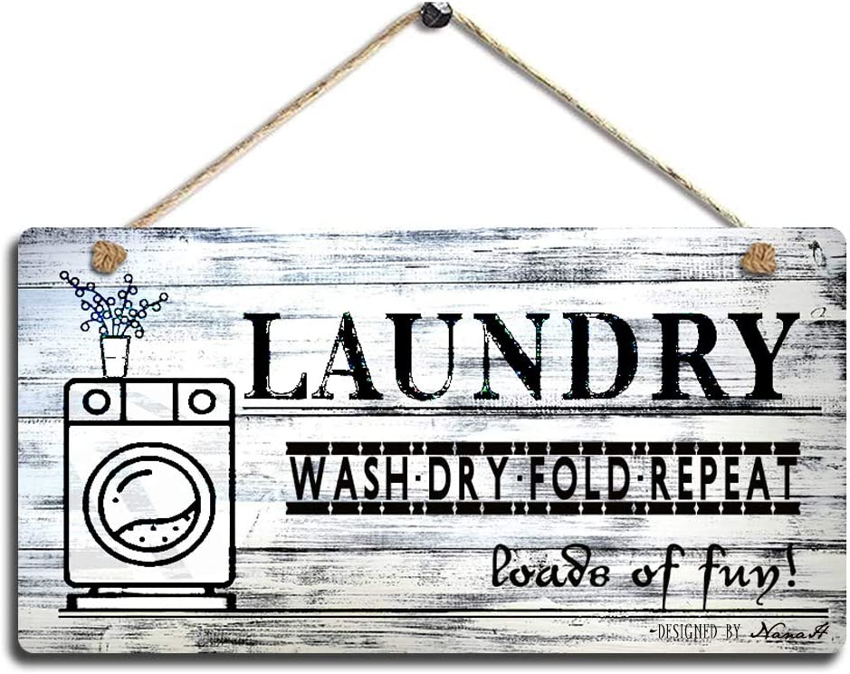"SAC SMARTEN ARTS Vintage Laundry Wood Sign Printed Wall Hanging Plaque Wash Dry Fold Repeat Wall Art Sign Size 11.5"" x 6"""