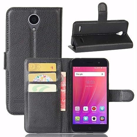 Guran® Funda de Cuero PU Para ZTE Blade A520 Smartphone Función de Soporte con Ranura para Tarjetas Flip Case Cover Caso-negro