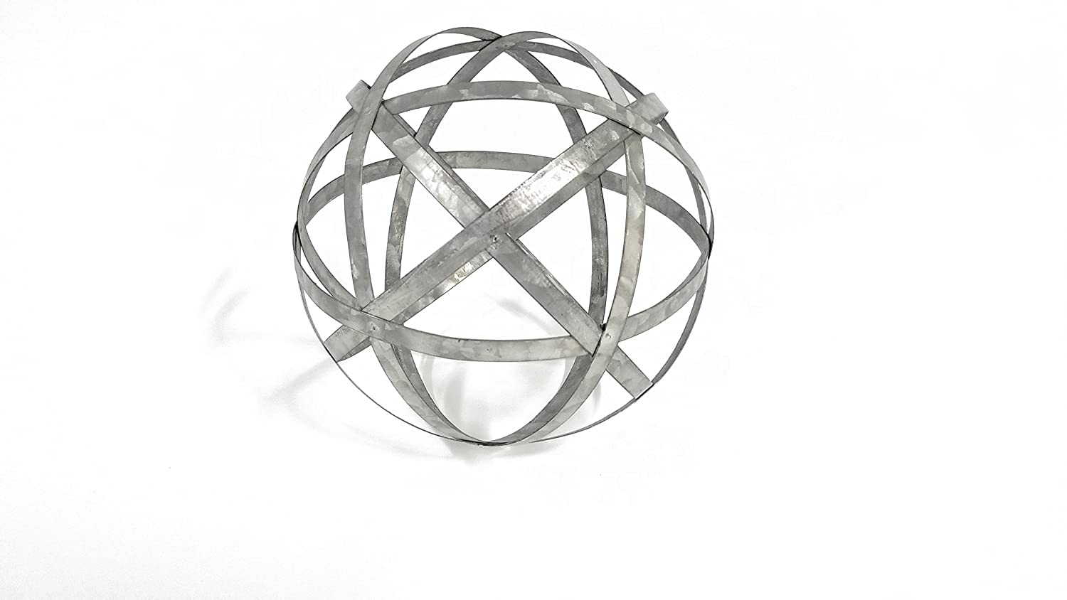Large Galvanized Metal Band Decorative Sphere (Standard Version)