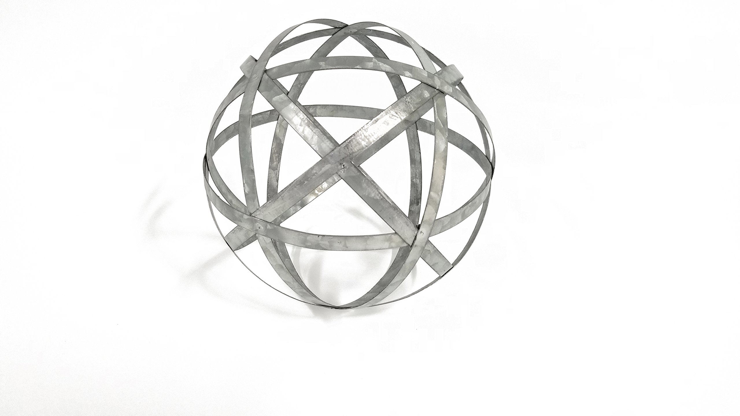Large Galvanized Metal Band Decorative Sphere by Everydecor