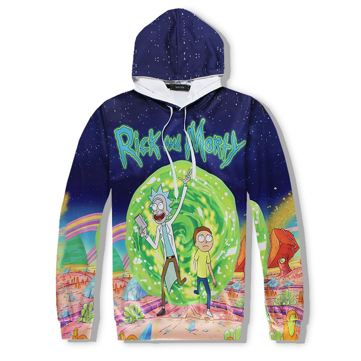 SM-TOPS Unisex Rick and Morty 3D Printed Hooded Tops Fashion Sweatshirts
