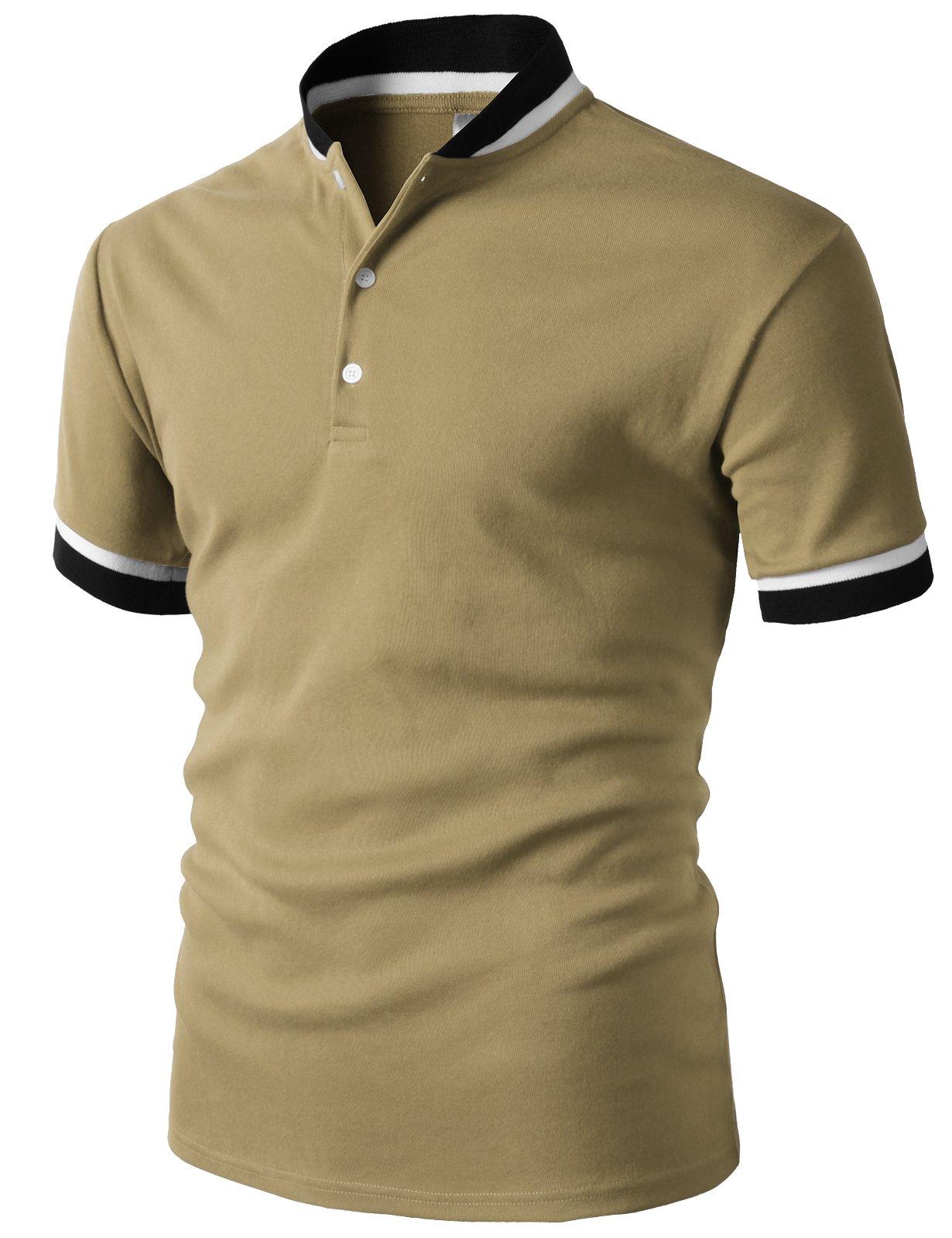 H2H Men's Casual Short Sleeve Henley Shirt Raglan Fit Baseball T-Shirts Tee Beige US XL/Asia 2XL (KMTTS0572)