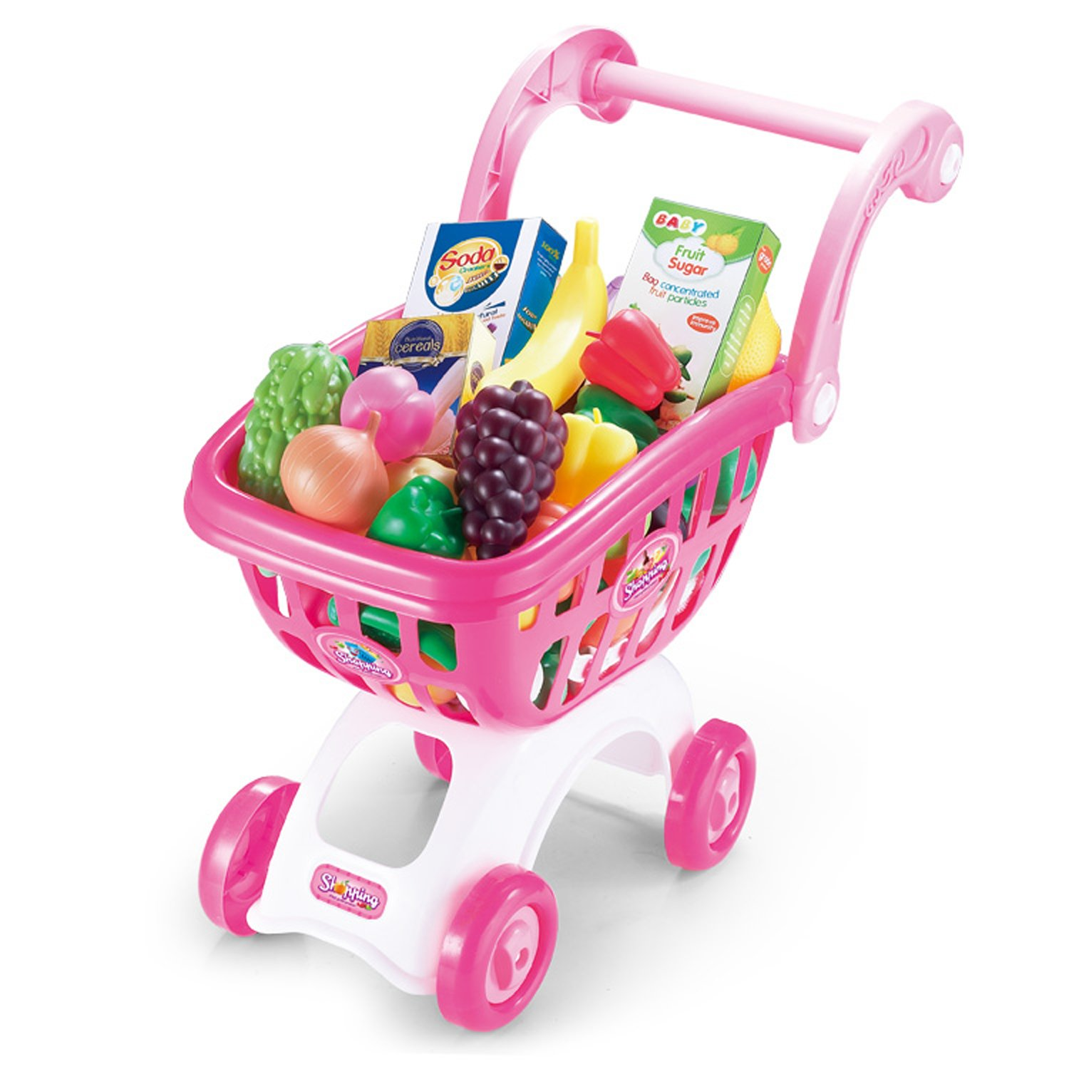 KISSKIDS 19' Large Plastic Shopping Cart with Accessories of Fruits, Vegetables, Drinks, Popular Pretend Toy for Children(Pink)