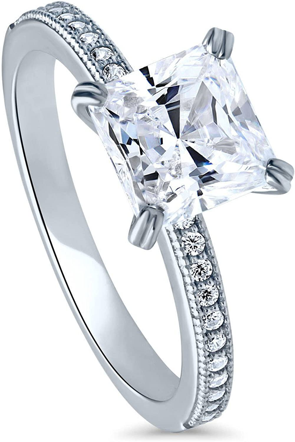 BERRICLE Sterling Silver Princess Cut CZ Solitaire Promise Engagement Ring 1 CTW