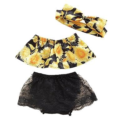 a50b5f556103 Miwear Newborn Outfit Baby Girls Sunflower Crop Top + Lace Tassel Shorts +  Bow Headband 3