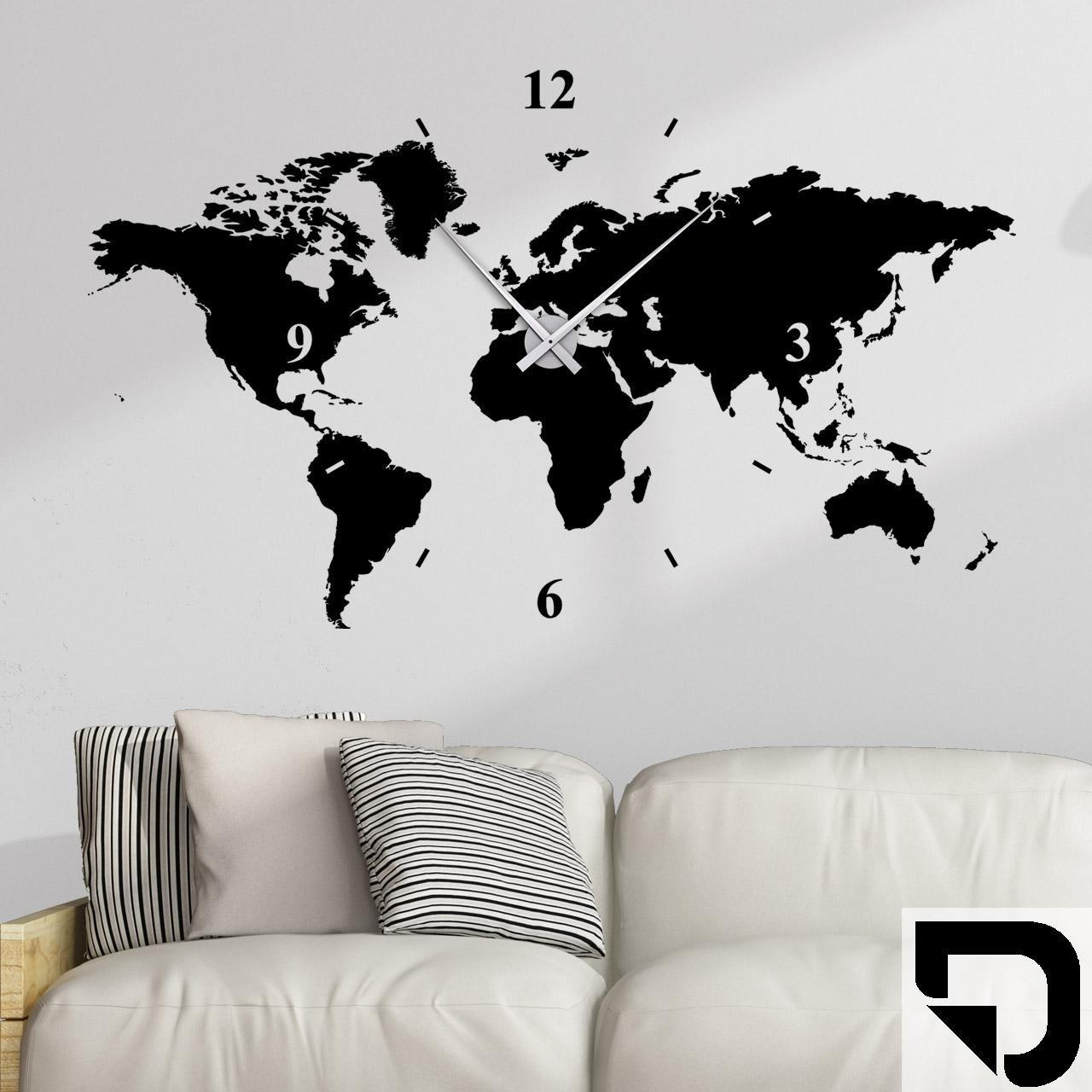 DESIGNSCAPE® Wandtattoo Uhr Weltkarte 100 x 60 cm (B x H) schwarz inkl. Uhrwerk schwarz, Umlauf 44cm DW813006-M-F4-BK