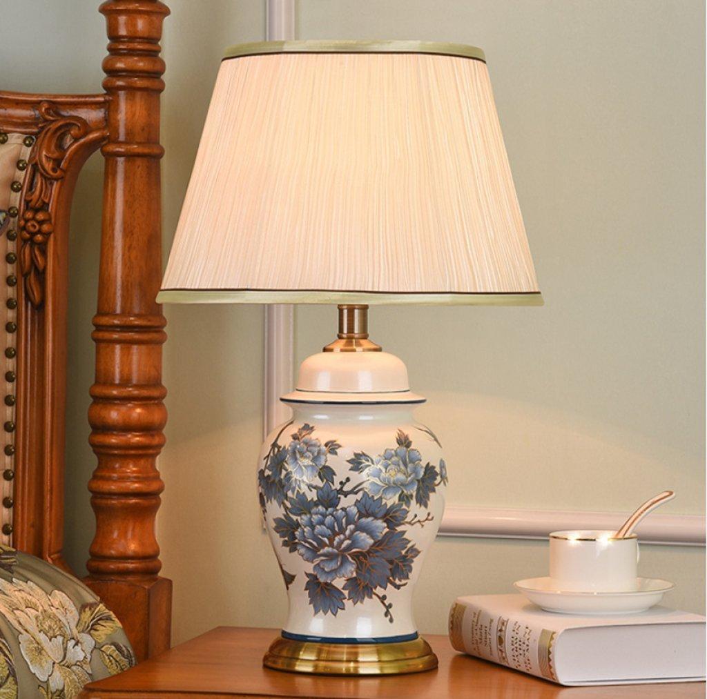 ベッドサイドテーブルランプセラミック花瓶手描きパターン布準備日陰寝室リビングルームデスクランプリモートスイッチランプ,C  C B07FQNL88P